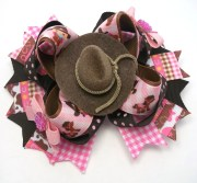 country western hair bow pink
