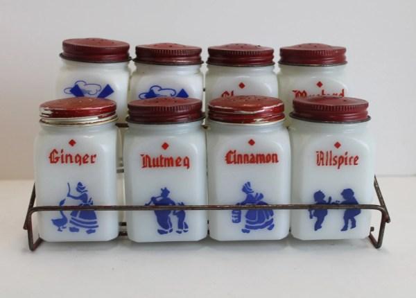 Vintage Milk Glass Spice Jars With Red Metal Rack