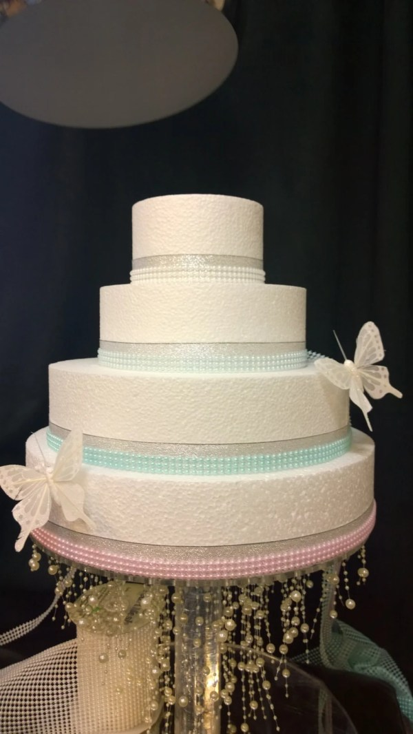 Faux Pearl Trim Ribbon Cake Craft Decoration In Pink