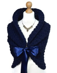 Navy Blue Wedding Shawl Crochet Shoulders Wrap Spring