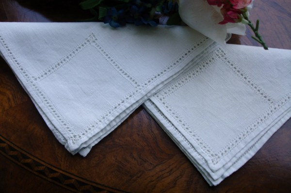 French Linen Dinner Napkins set of two with Cutwork detailing
