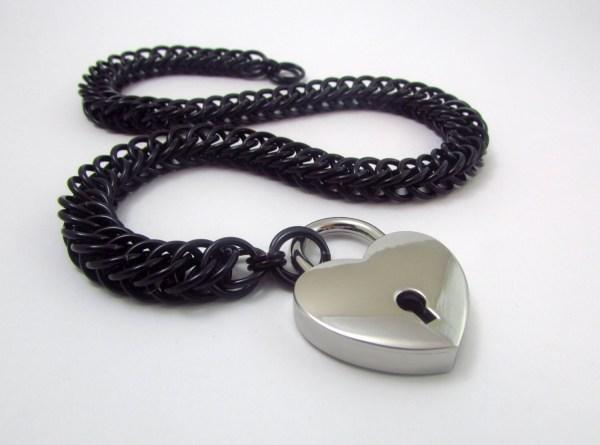 Collar In Black With Heart Padlock Handmade Slave Day