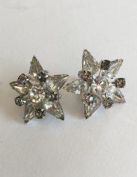 1940s Rhinestone Earrings Vintage Screw Back Stars
