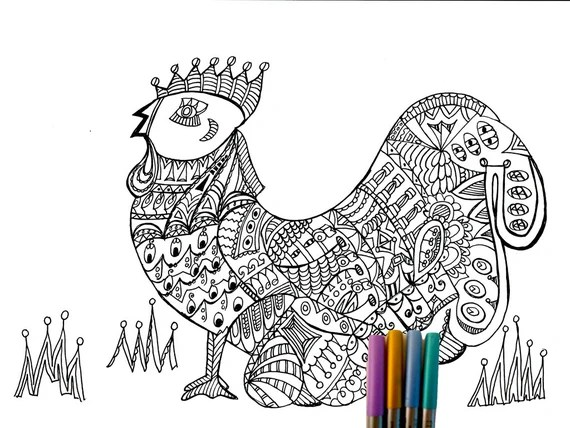 items similar to adult coloring page rooster on etsy