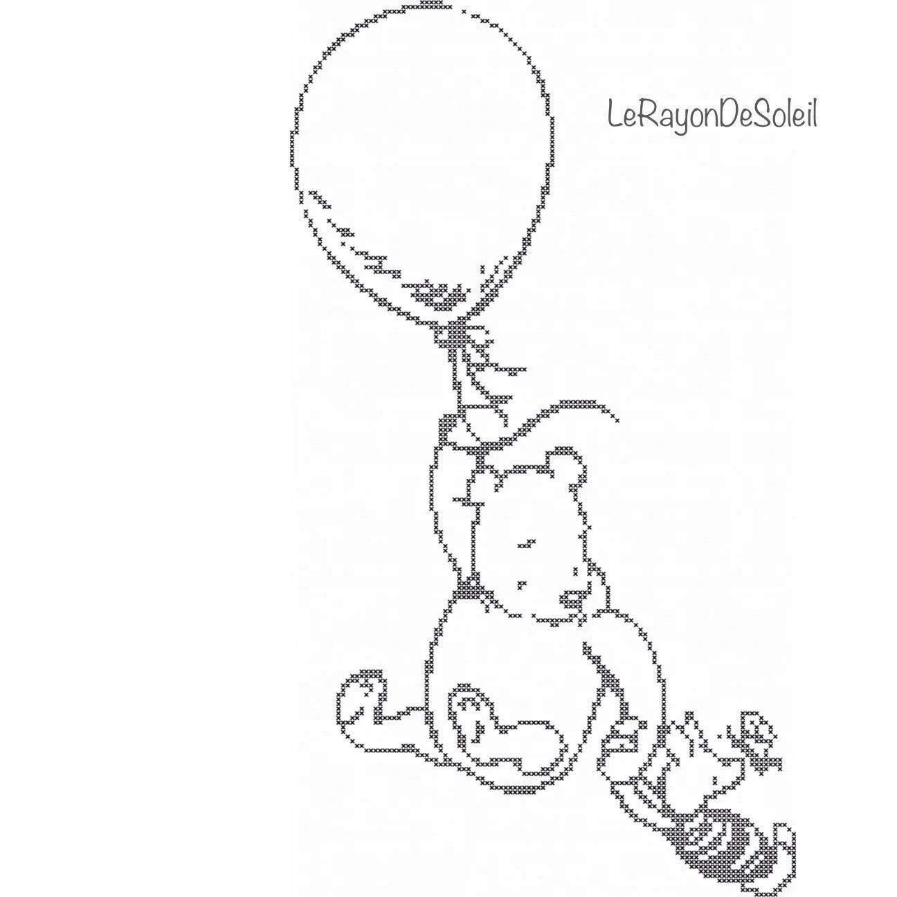 Cross stitch pattern Winnie the Pooh and Piglet balloon