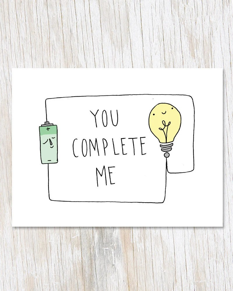 You Complete Me Greeting Card Circuit Physics Electricity