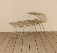Mid Century Metal Tier Step Side Table Nightstand Hairpin Legs
