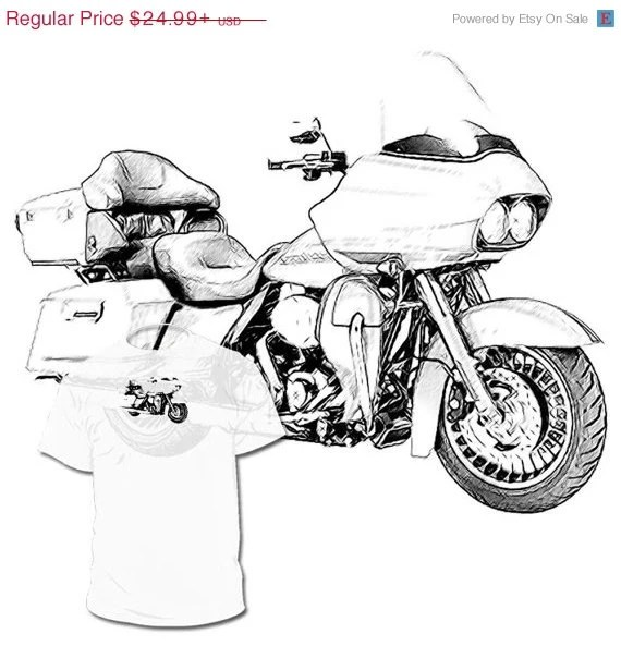 40% Off SALE Harley Davidson Road Glide Drawing T by Drawinx