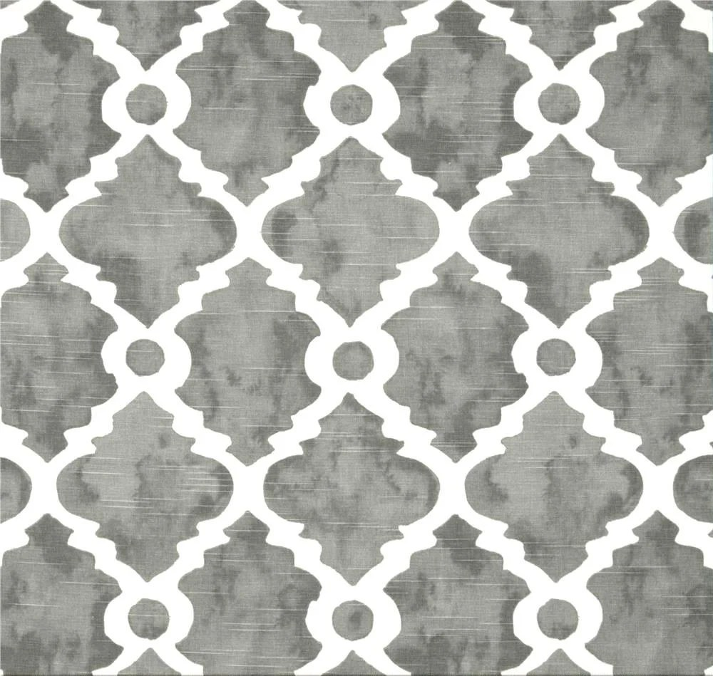 Gray & White Geometric Home Decor Fabric By The Yard Designer