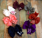 monogram hair bows embroidered