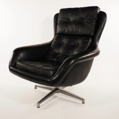 Black Leather Swivel Lounge Chair Small Chaise Mid Century Dux Form 7 By
