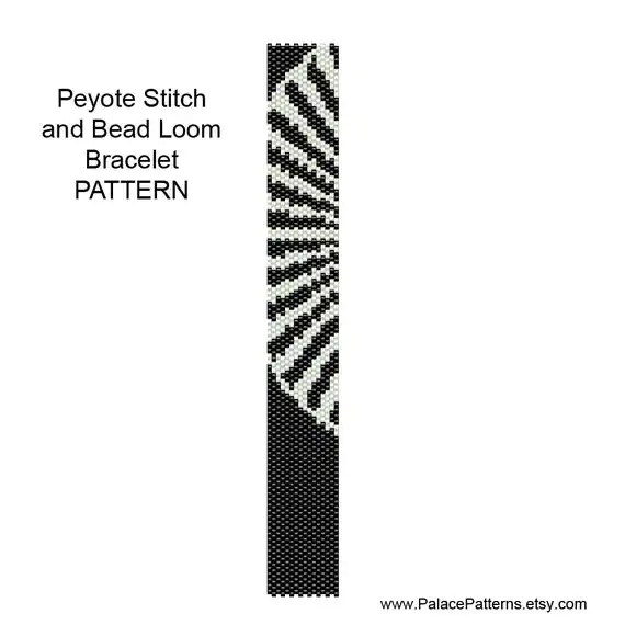 Black and White 1 Bracelet Pattern for Bead Loom Weaving and