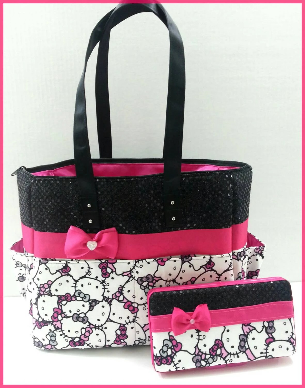 Hello Kitty Diaper Bag Black Sequin Hot Pink Bow Matching