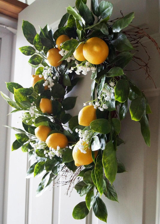 Summer Wreath Door Wreath Lemon Fruits Wreath Lemons