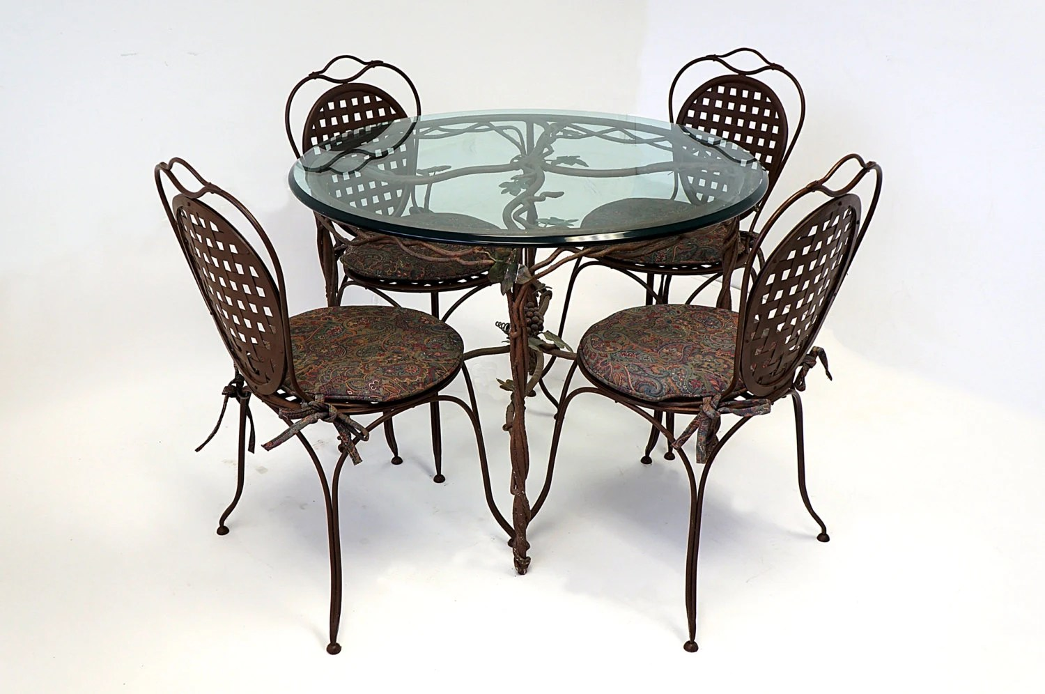 Wrought Iron Table And Chairs Wrought Iron Glass Top Table Four Chairs Cushioned Painted