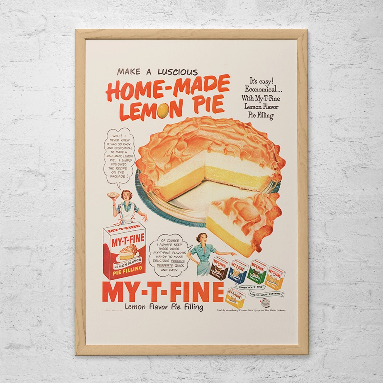 vintage posters for kitchen storage rack retro pie ad cooking mid century poster classic