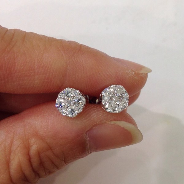 18k 3 4 Carat 5 Diamond Stud Earrings Si White Gold