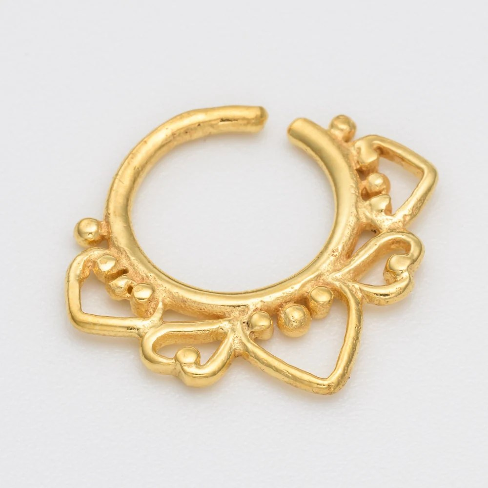 Gold Septum Ring for pierced nose. gold septum by