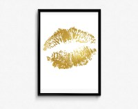 Lips Print Gold Foil Art Gold Wall Decor Bedroom wall art
