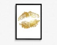 Lips Print Gold Foil Art Gold Wall Decor Bedroom wall art