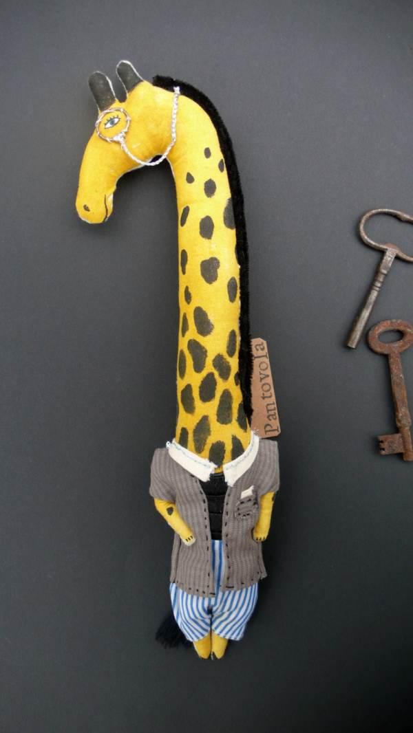 Reserved George Giraffe Fabric Art Doll Textile Animal