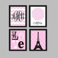 PARIS Wall Art CANVAS or Prints Eiffel Tower Pink Black Baby