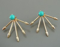 Ear Jackets Dual Earrings Five Spike Stud Earrings