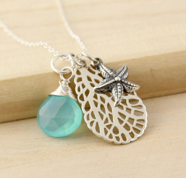 Sterling Silver Starfish Charm Necklace With Sea Fan And Aqua