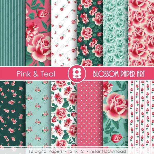 Teal Pink Digital Paper Floral Papers Scrapbooking