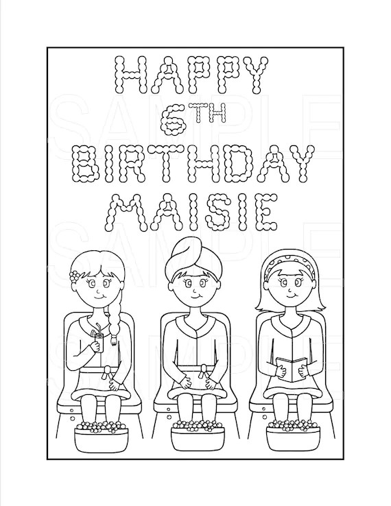 Items similar to Spa Party Printable Coloring Page, Custom