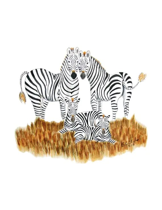 Zebra Art Baby Room Decor Safari Nursery Art by TinyToesDesign