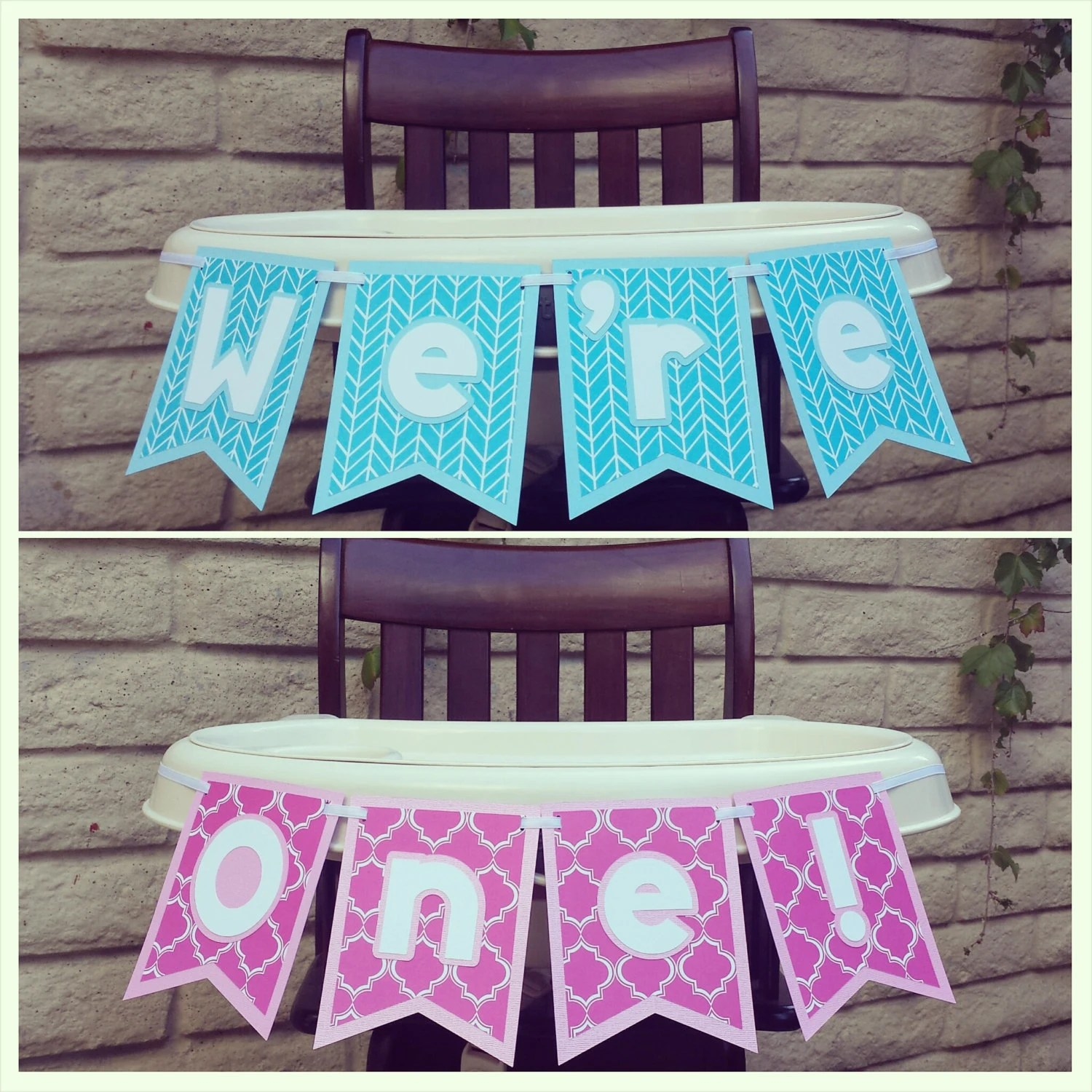 high chair decorations 1st birthday boy computer desk and first banner twins by