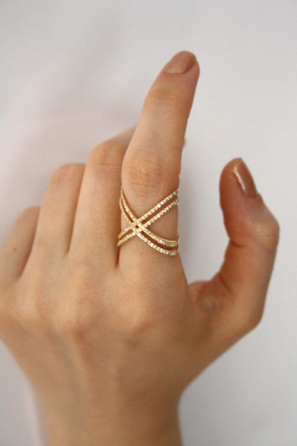 Gold X Ring With Cz Stones Engagement Criss Cross
