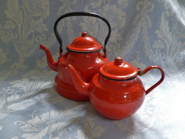 French Enamelware Pair Of Vintage Red And White Enamel