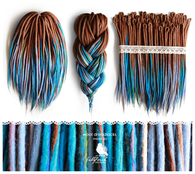 Wool Dreadlocks woolen brownblue dreads felted handmade
