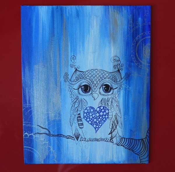 Owl Heart Art Blue Abstract Silver Mandala. Original