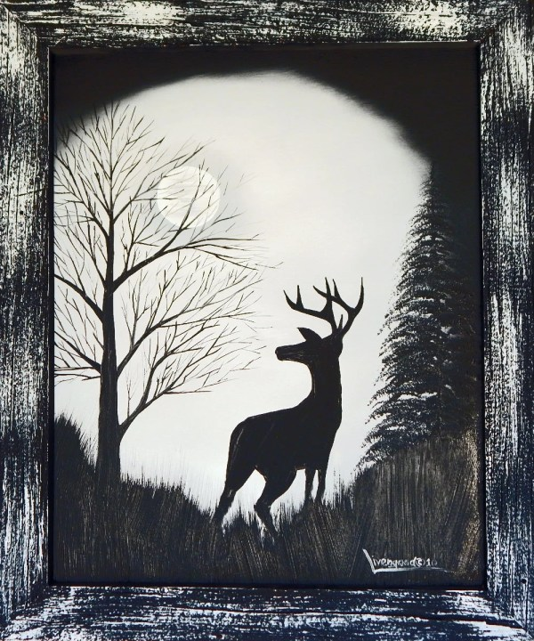Moonlight Buck Original Oil Painting Wildlife Art 16x20 Canvas