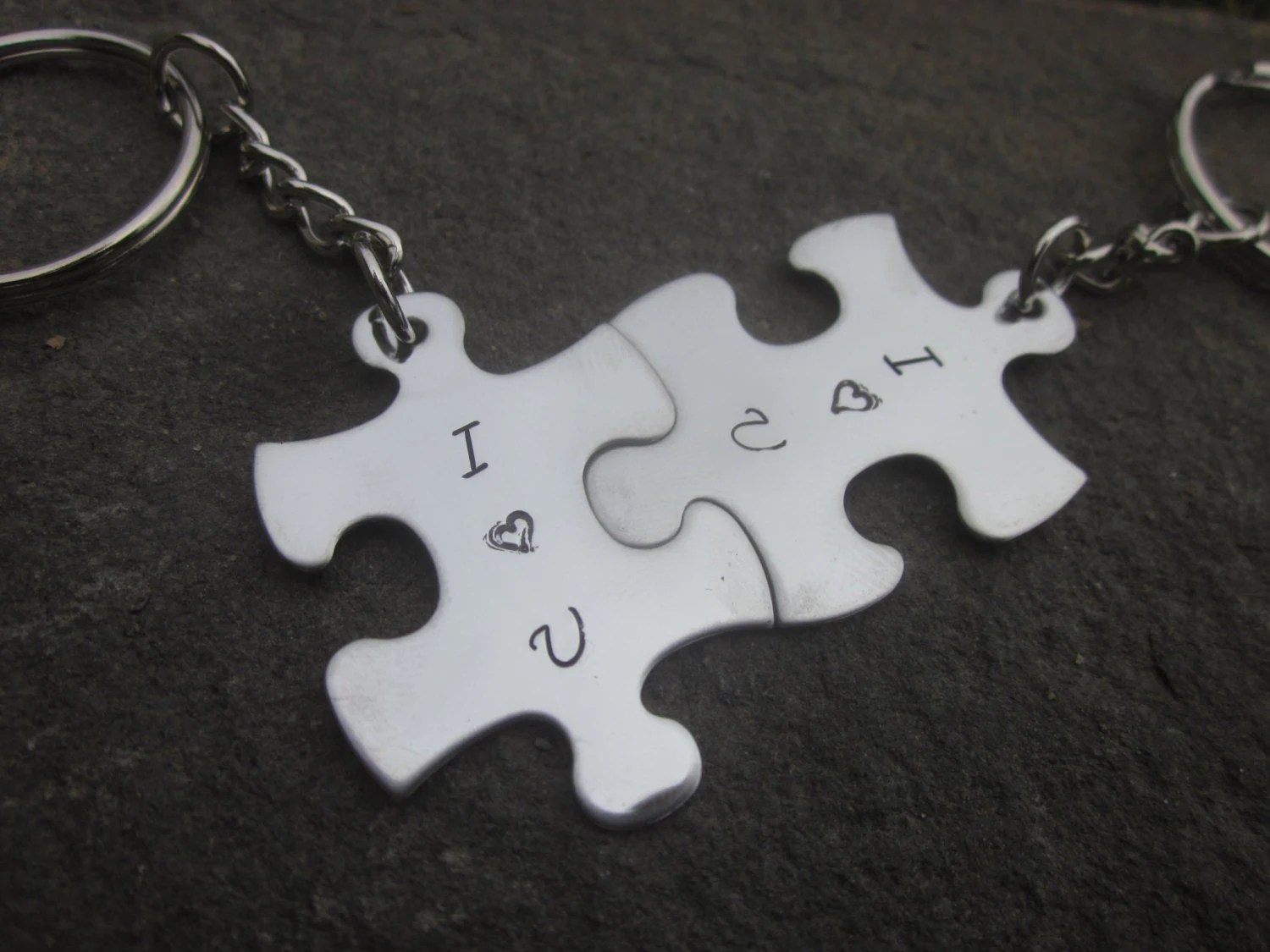 I Love You Puzzle Pieces Key Chains Set Of Two Puzzle Pieces