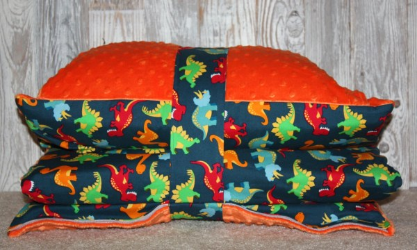 Kinder Mat Cover Dino Toss With Orange Minky Ready Ship