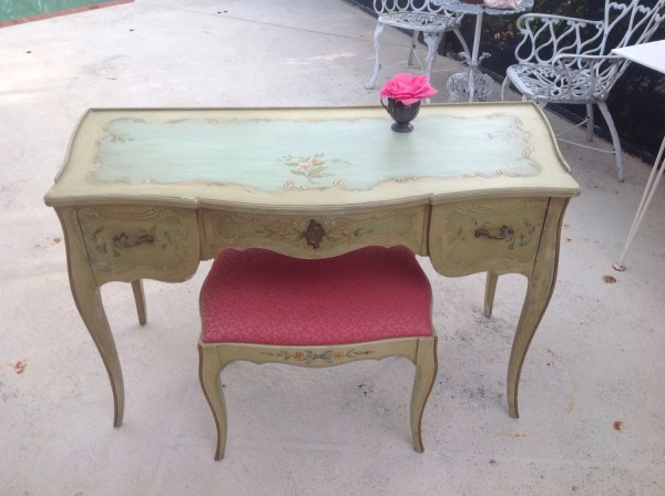 French Style Desk Antique Shabby Chic Hand Painted Vanity