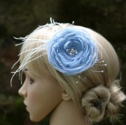 blue flower hair comb accessories