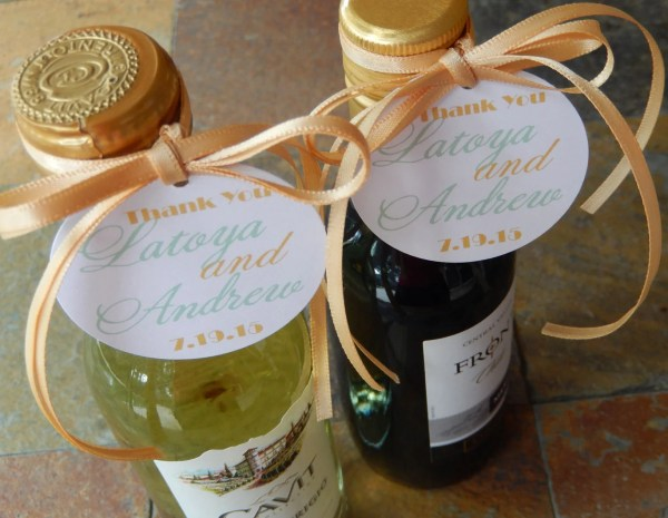 Custom 2 Mini Wine Bottle Favor Tags