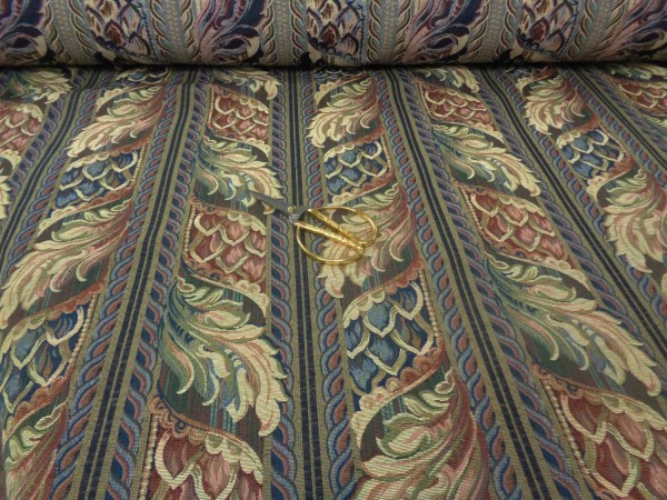 Wide Vintage Art Deco Tapestry Fabric Yellow Red