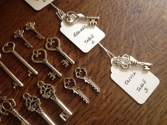 Keys to Happiness Skeleton Key Wedding Favors 50 Silver