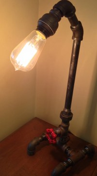 Industrial Iron Pipe Lamp and Faucet On/Off Switch Table