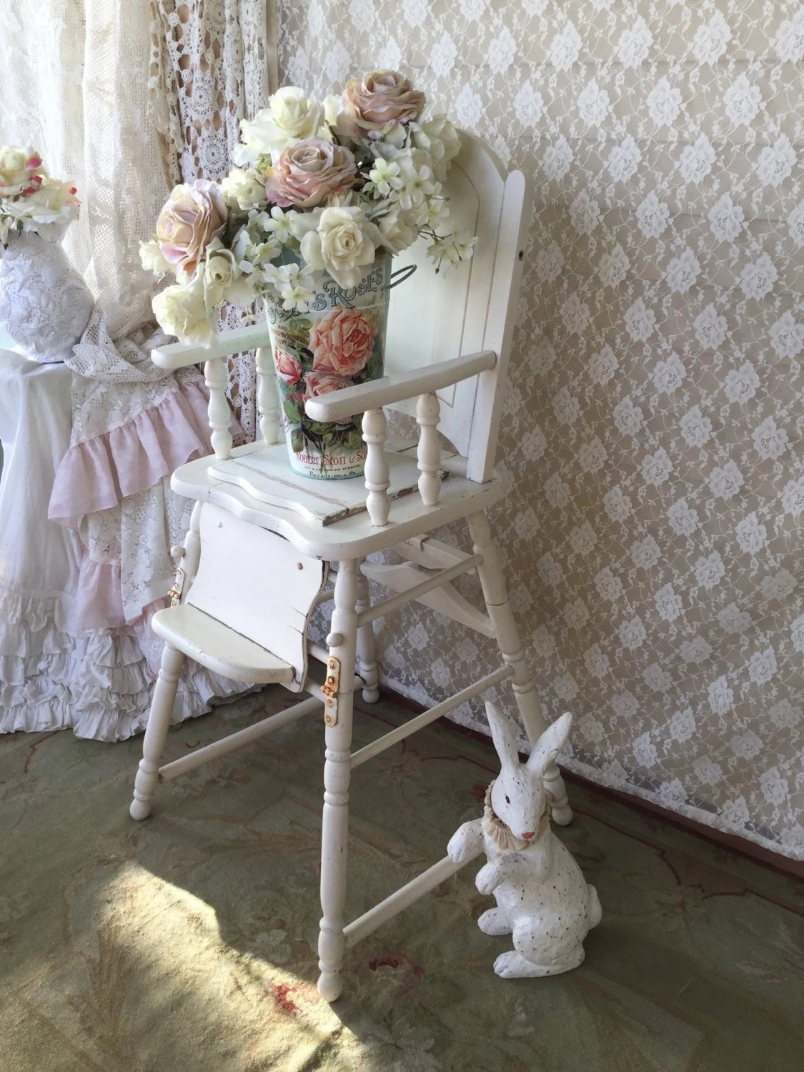 retro high chairs babies wedding chair covers wirral shabby white vintage potty baby
