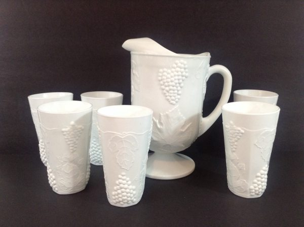 Westmoreland Milk Glass Pitcher And 6 Glasses With Grape