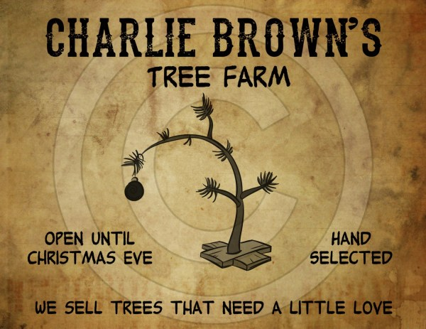 Primitive Grungy Charlie Brown Christmas Tree Feedsack