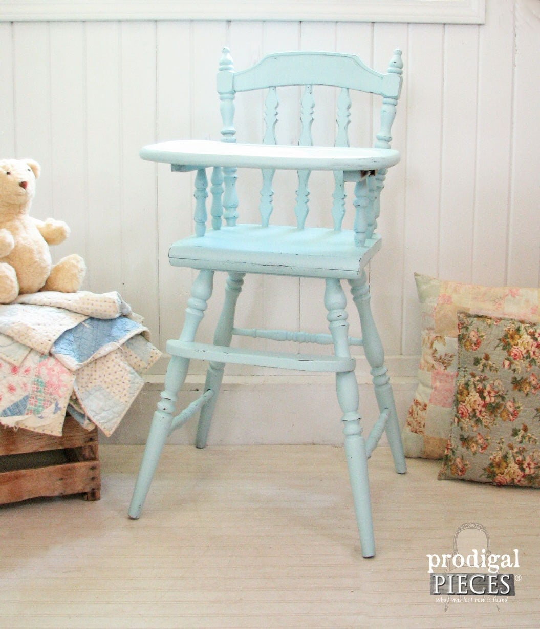 High Chair For Baby Boy Aqua Blue Vintage Wooden Baby High Chair With Hand Painted