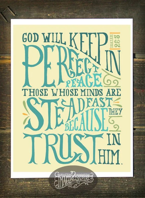 Isaiah 263 Hand lettered 8x10 print Instant Download